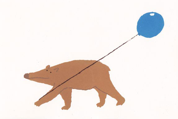 Brown bear with balloon
