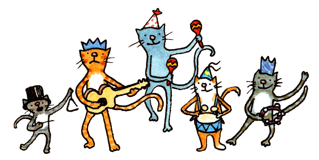 five-piece band of cats