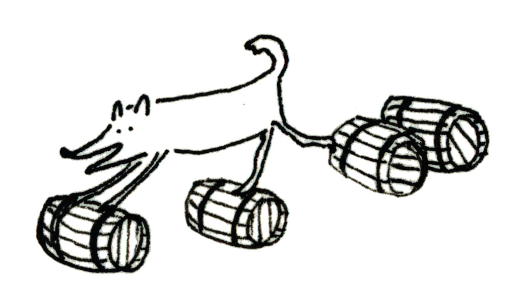 wolf running on barrels