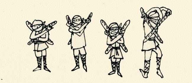 ninjas with French bread