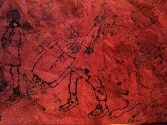 Napkin drawn by Becky Palmer and Daisy