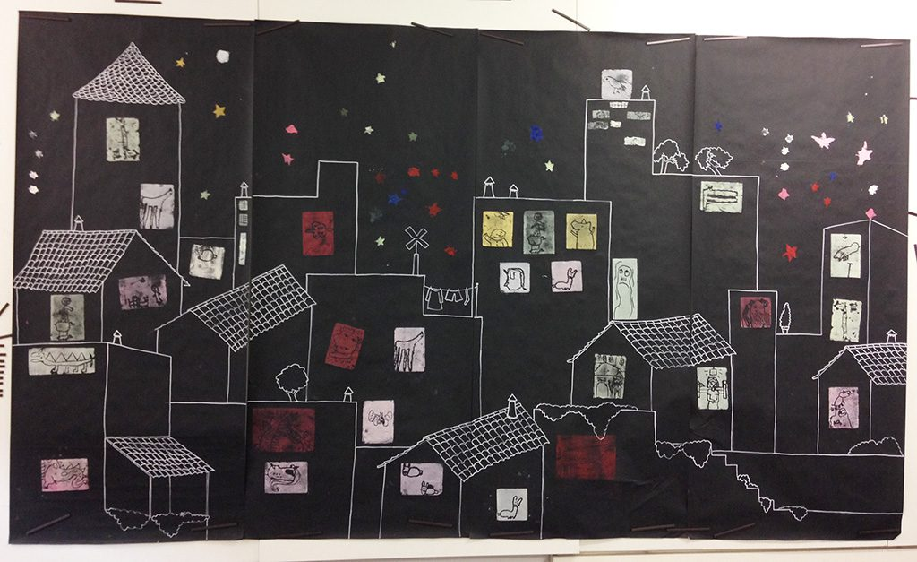 A giant mural made by children at house of illustration
