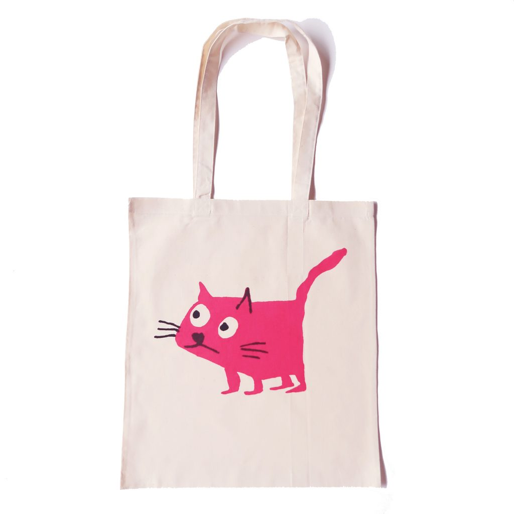 Hot pink cat on natural tote bag