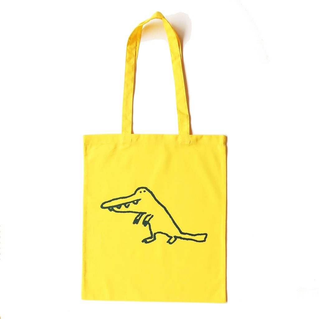 Yellow crocodile tote bag