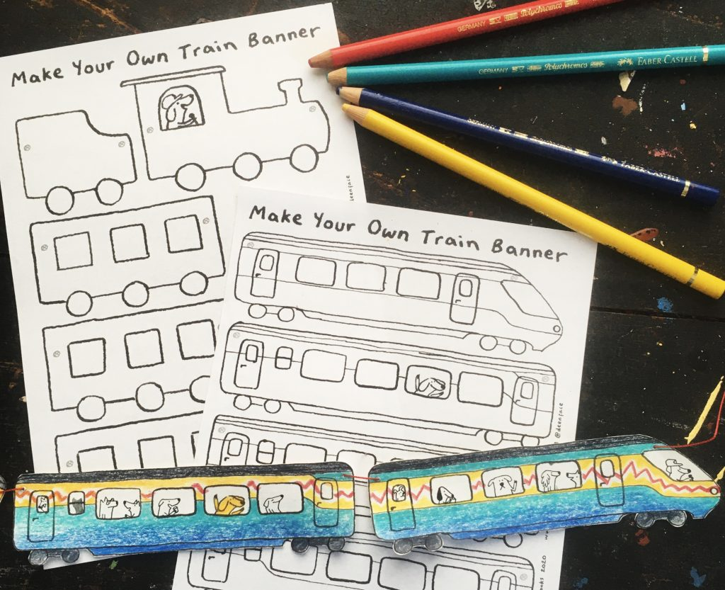 Train banner activity sheets