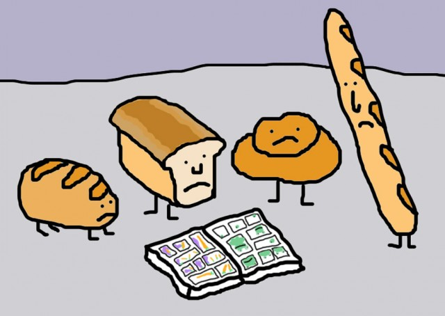 Various loaves of bread reading a comic