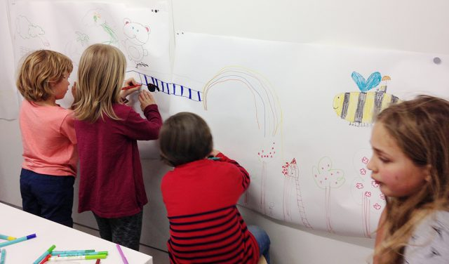 Children drawing an adventure